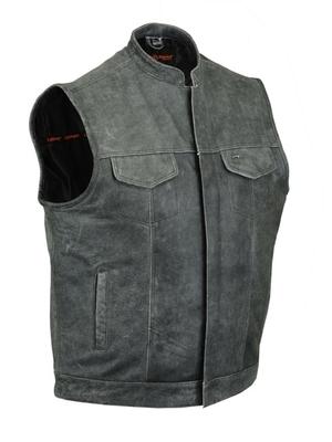 DS188V Concealed Snaps,Naked Cowhide, Scoop Collar & Hidden Zipper (Gray)