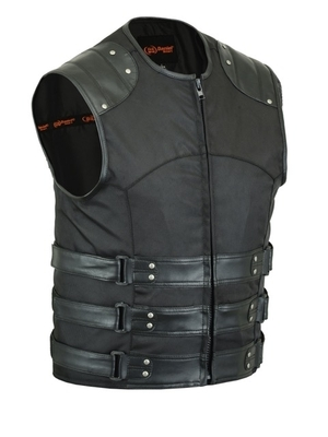 Image DS608 Men's Textile/ Leather Updated SWAT Team Style Vest