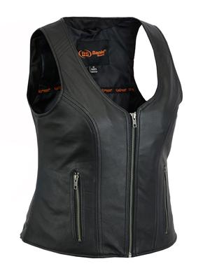 DS244 Women's Stylish Open Neck Zipper Front Vest