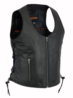 Image DS245 Women's Stylish Open Neck Side Lace Zipper Front Vest