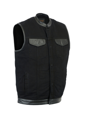 Image DM992 Men's Black Denim Single Panel Concealment Vest W/ Leather Trim