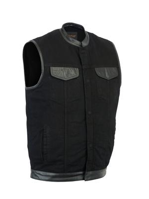 Image DM992 Men's Black Denim Single Panel Concealment Vest W/ Leather Trim