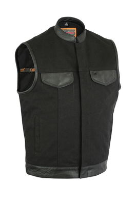 Image DS685 Canvas Material Single Back Panel Concealment Vest W/Leather Trim