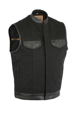 Image DS685 Canvas Material Single Back Panel Concealment Vest W/Leather Trim