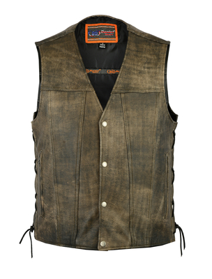 Image DS107 Men's Antique Brown Single Back Panel Concealed Carry Vest
