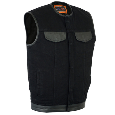 Image DM991 Men's Black Denim Single Panel Concealment Vest W/Leather Trim- w/o Collar