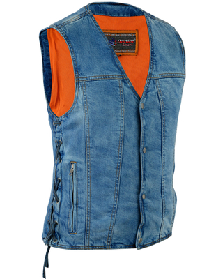 Image DM905BU    Men's Single Back Panel Concealed Carry Denim Vest