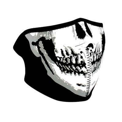 Image WNFM002HG ZAN® Half Mask- Neoprene- Skull Face- Glow in the Dark