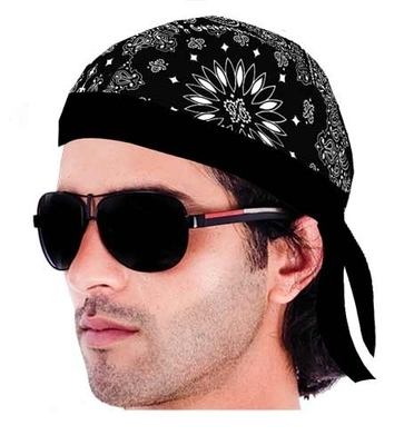 Image HW2605 Headwrap Paisley Lined Black