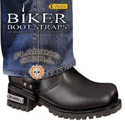 Image BBS/FS6 Weather Proof- Boot Straps- Flaming Skull- 6 Inch
