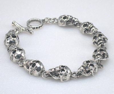 Image BC28F Flat Skull Chain Bracelet