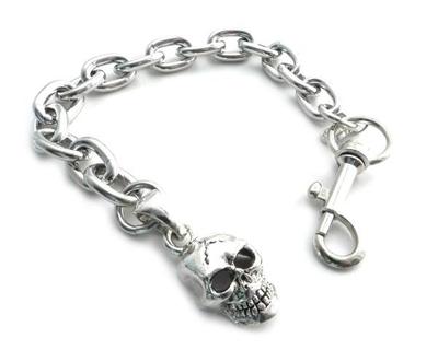 Image BC11-SKXL Skull Pendant on link Chain Bracelet 8