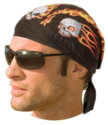 Image HW2611 Headwrap Flaming Skulls