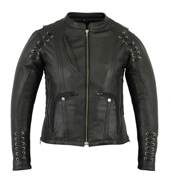 Image DS885 Women's Stylish Jacket with Grommet and Lacing Accents
