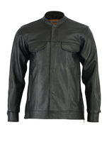 Image DS788 Men's Full Cut Leather Shirt with Zipper/Snap Front