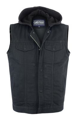 Image DM982 Men's Black Denim Single Back Panel Concealment Vest w/Removable Hood